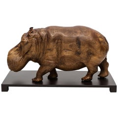 20th Century Solid Wood Hippopotamus Sculpture