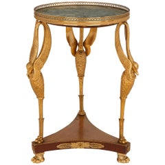 Ormolu and Marble Round Side Table in the French Empire Style