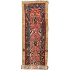 Antique Persian Serab Runner with Vertical Sub-Geometric Medallions