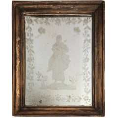 Charming Early Venetian Etched Mirror