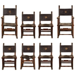 Set of Eight Arts & Crafts Oak and Leather Chairs