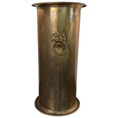 19th Century English Brass Umbrella Stand with Lion Head Pull