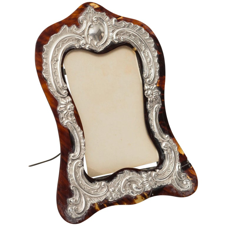 19th Century Tortoiseshell Picture Frame with Silver Mounts