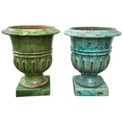 Pair of Hand-Painted Blue and Green Terracotta Planters