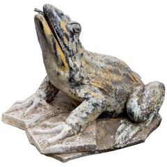 Large French Cast Iron Frog Fountain