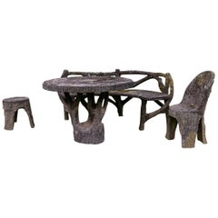 Exceptional French Four-Piece Faux Bois Set