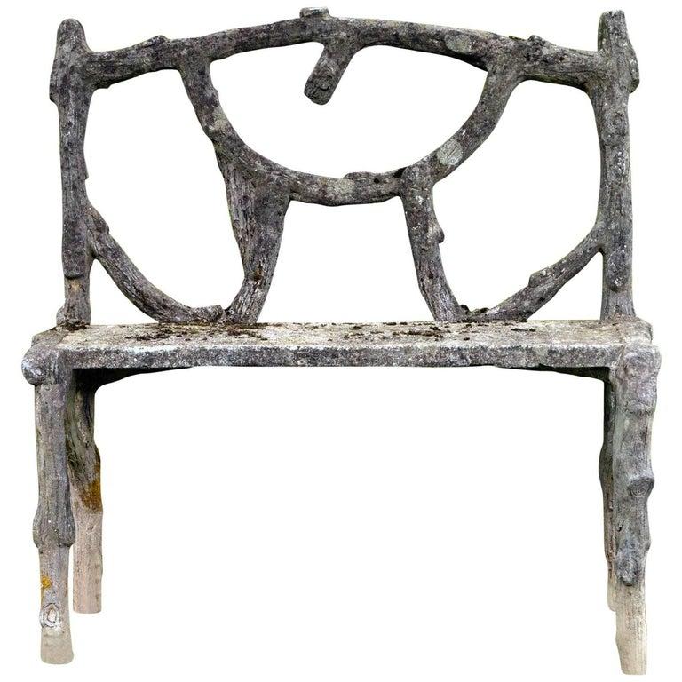 Rare Faux Bois Love Seat