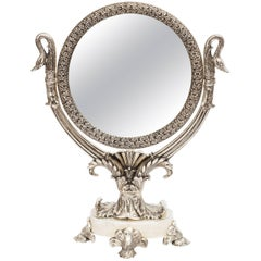 Silver Plated Vanity Mirror with Stand