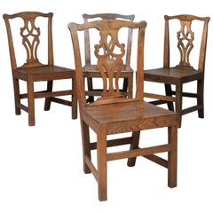 Set of Four Antique Dining Chairs, Oak and Elm, English, Country Kitchen