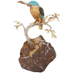 Gold and Gemstone Mounted Kingfisher Ornament by Asprey