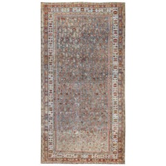 Antique Persian Malayer Rug with All-Over Design in Gray, Blue, Red & Ivory
