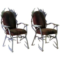 Fanciful Pair of American Aluminum Antler Armchairs Designed by Arthur Court