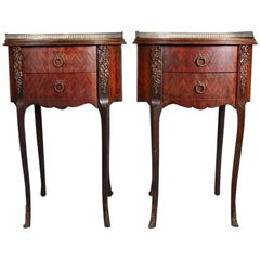 Pair of Antique French Louis XVI Style Mahogany Parquetry with Bronze End Stands