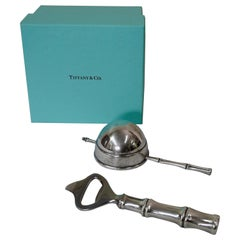 Tiffany & Co. Sterling Bamboo Bottle Opener and Jigger with Box