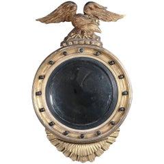 Antique Federal Giltwood and Ebonized Figural Eagle Bullseye Wall Mirror
