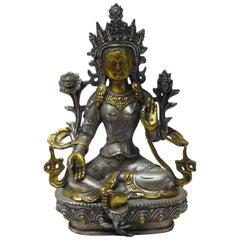 Brass w/ Silver Overlay Tara Goddess of Peace Sand Protection Statue