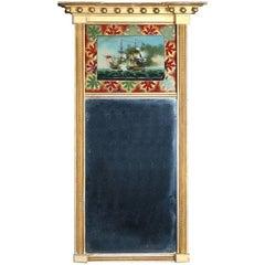 Antique Federal Maritime Trumeau with Églomisé Giltwood Wall Mirror