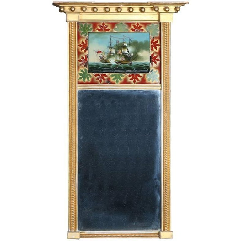 Antique Federal Maritime Trumeau with Églomisé Giltwood Wall Mirror