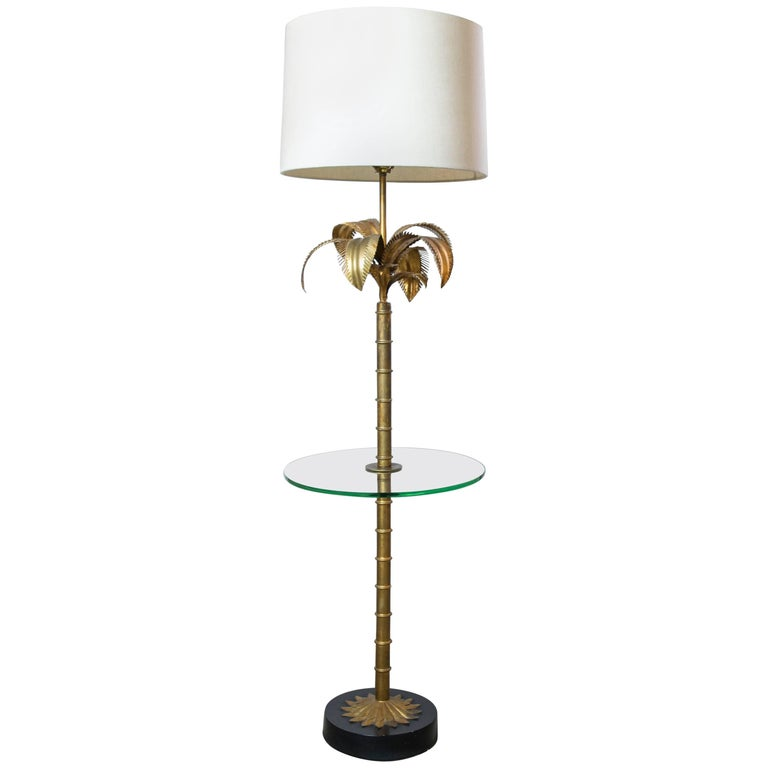 Hollywood Regency Gilded Palm Floor Lamp/Table Combo For Sale at 1stdibs