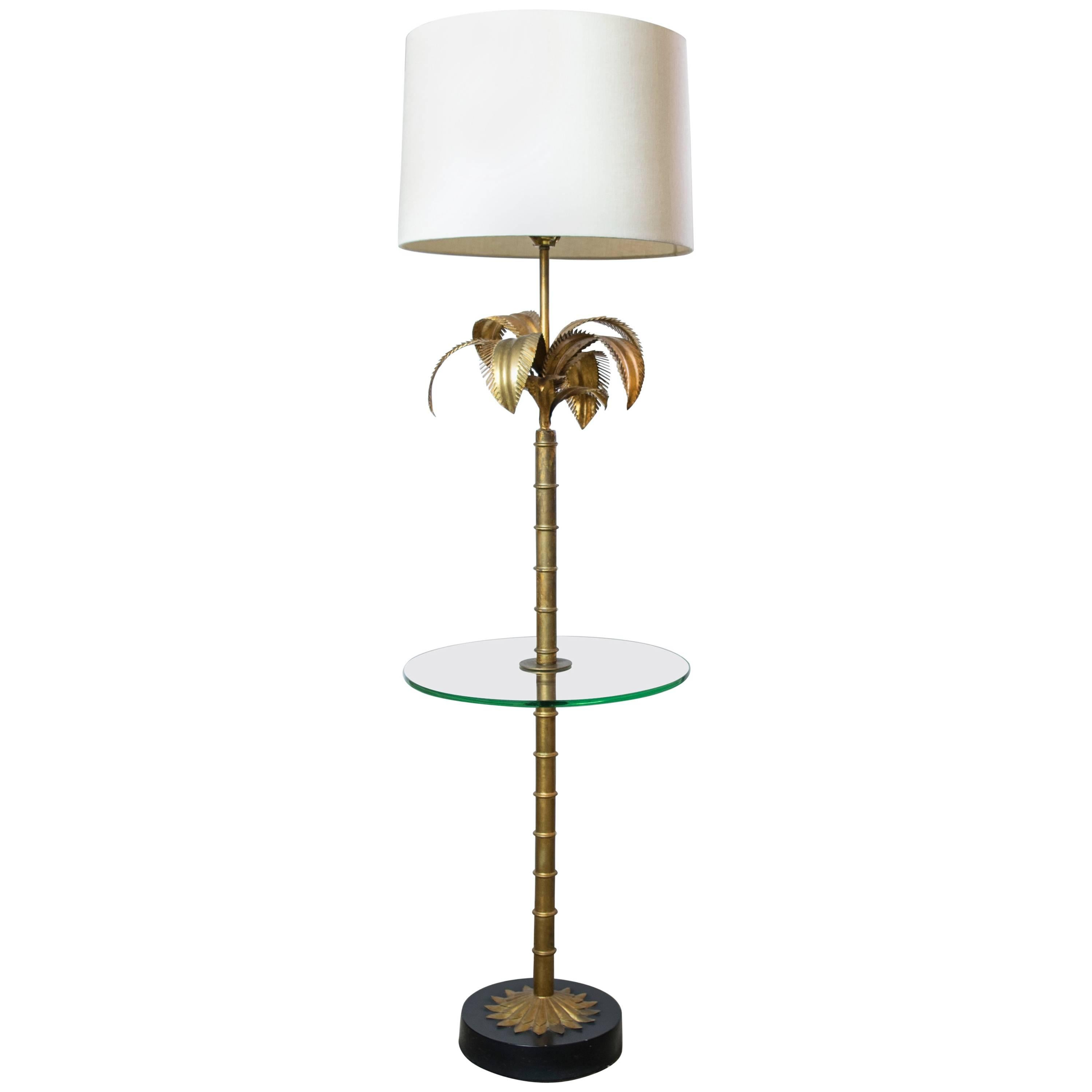 Hollywood Regency Gilded Palm Floor Lamp/Table Combo