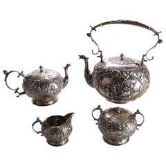 Four-Piece Antique Dutch .800 Silver Repousse Figural and Scenic Tea Set
