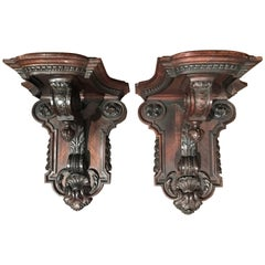 Pair of 19th Century, French Carved Walnut and Veneer Corbels Wall Brackets