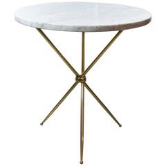 Mid-Century Modern Italian Brass and Marble Tripod Side Table