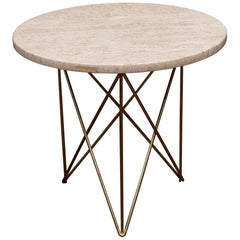 Rene Brancusi Travertine Side Table