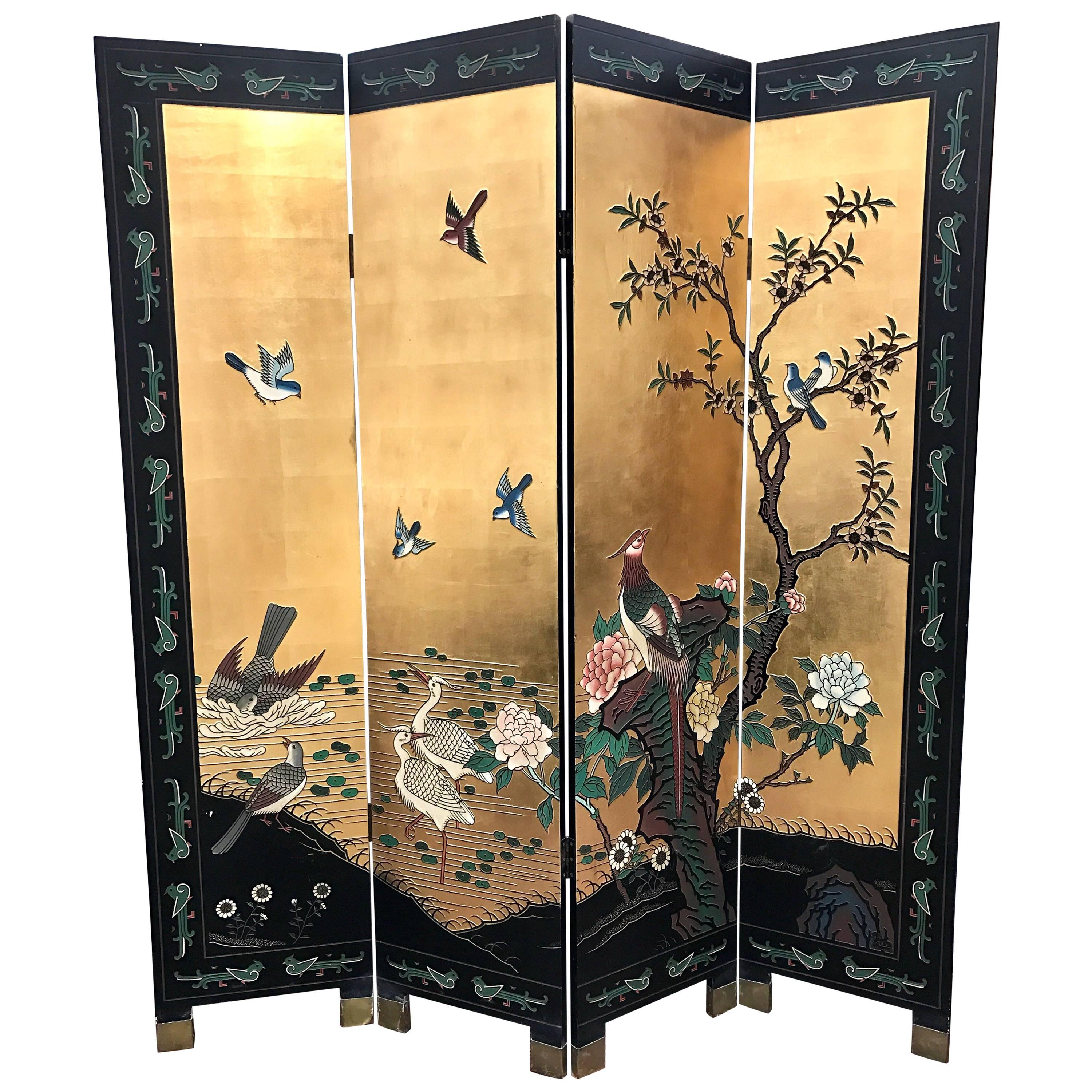 Chinese Gold Leaf Room Divider Folding Screen For Sale at 1stdibs