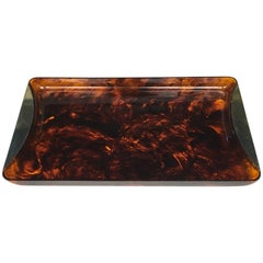 Tortoiseshell Serving Tray Made of Lucite and Brass by Guzzini
