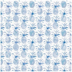 Piña Pintada Pigment Printed Wallpaper in Color Macaw 'Cobalt Blue on White'