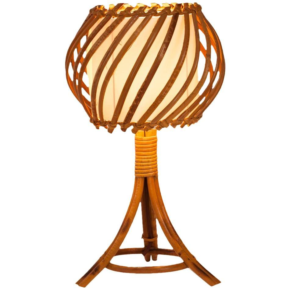 French Midcentury Bamboo Table Lamp With Parchment Shade For Sale