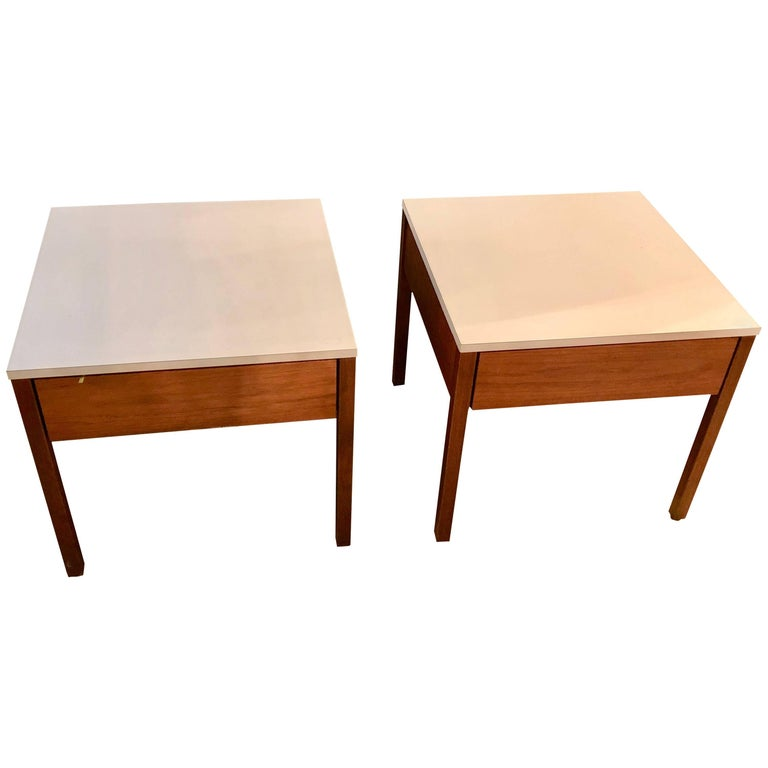 Pair of Mid-Century Modern Signed Florence Knoll Nightstands or End Tables