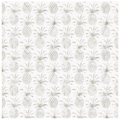 Piña Pintada Pigment Printed Wallpaper in Color Shell 'Warm Grey on White'