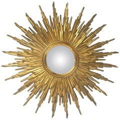 French Gilt Sunburst or Starburst Convex Mirror
