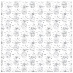 Piña Pintada Pigment Printed Wallpaper in Color Gull 'Grey on White'