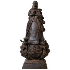 17th Century Virgin of the Immaculate Conception Religious Sculpture