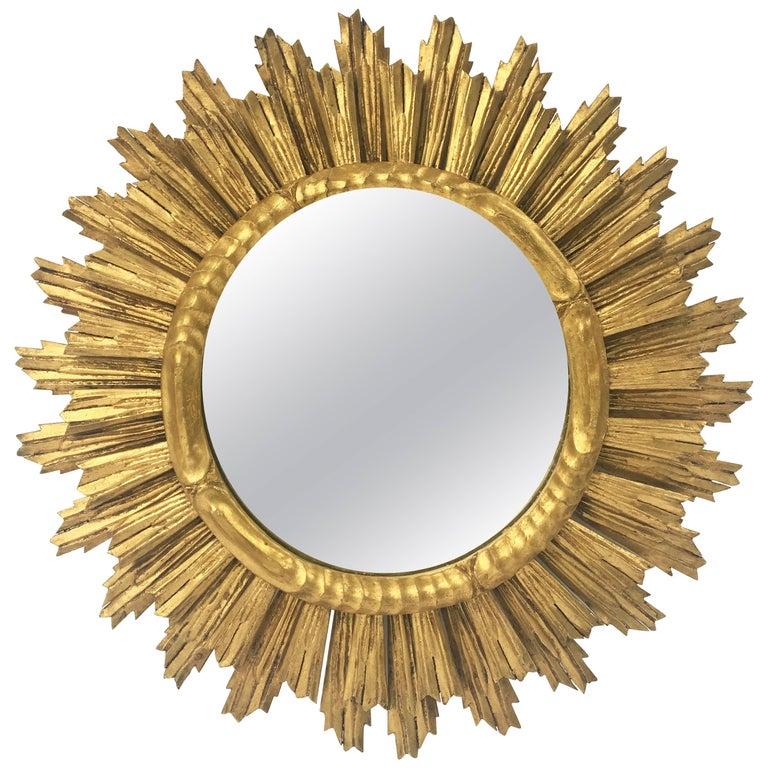 French Gilt Sunburst or Starburst Mirror (Diameter 29) For Sale