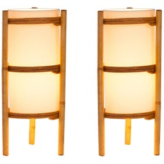 Pair of French Bamboo Lantern Style Table Lamps with Parchment Shades
