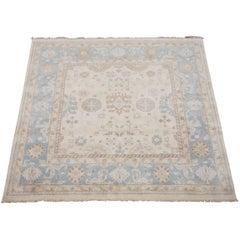 Ivory and Light-Blue Square Oushak Rug