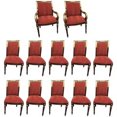 Set of 12 Mahogany Dining Chairs by E.J. Victor