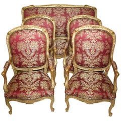 Palatial 19th Century Louis XV Style Giltwood Carved Five-Piece Salon Suite