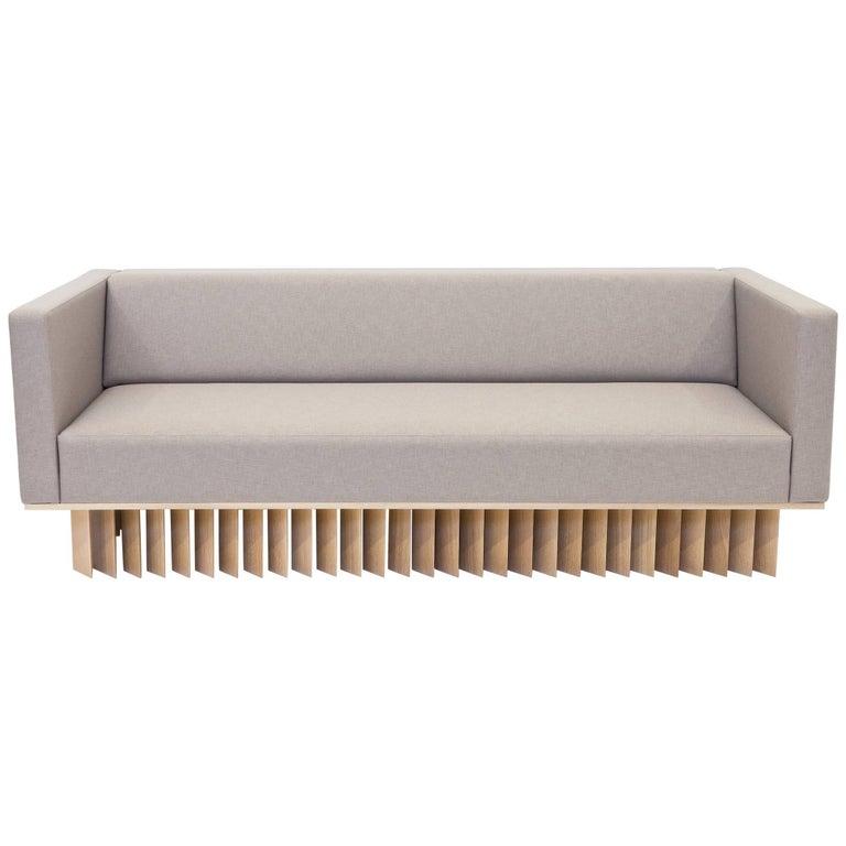 Angled Wood Bar Sofa in Oak and Maharam Upholstery