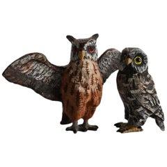 Two Antique Austrian Cold Painted Owls, Franz Bergman School, 19th Century