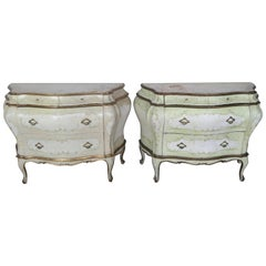 Pair of French Painted Bombay Commodes, circa 1930s