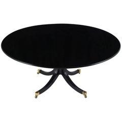 Hollywood Regency Ebonized Tilt-Top Dining Table