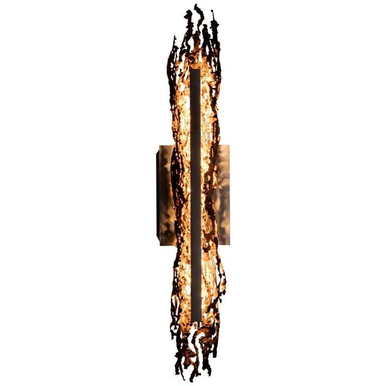 Burnt Copper Form Sconce, Open Narrow Form, Wall Sculpture