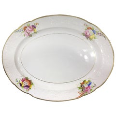 Large Spode Oval Platter, Moulded and Painted Flowers, Pat. 1943, circa 1815