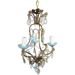 Three-Light Crystal and Blue Opaline Chandelier