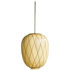 Large Swedish Pendant Globe Light with Cane Trellis Wrap